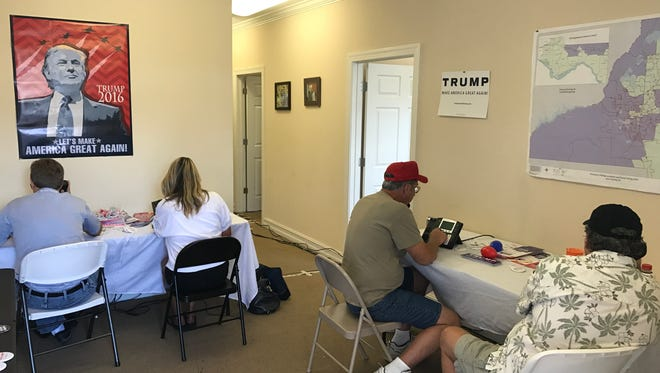 Volunteers for Donald Trump working a phone bank in Tallahassee the day before the election.
