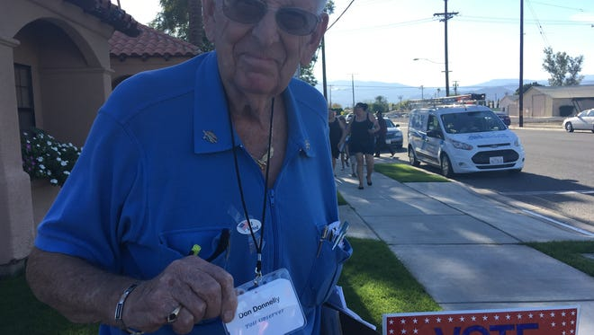 Don Donnelly, 85, observed a Coachella voting site on Tuesday November 8, 2016 in order to make sure the voting process was legitimate.
