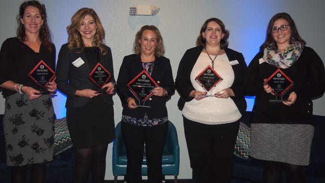 The Young Professionals of Fond du Lac recognized the 2016 Future 5 Award Recipients and the 2016 Young Professional of the Year. Pictured from left are: Kelly Norton, St. Mary's Springs Academy; Theresa Goebel-Menting, Sweet N Easy Events LLC; Holly Luehring, Michels Corporation; Sarah Spang, Fond du Lac County Economic Development Corporation; Katie Tank, Agnesian HealthCare.