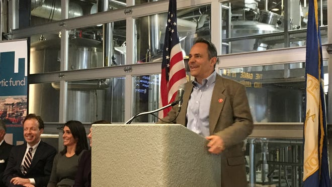 Gov. Matt Bevin speaks to the crowd at Braxton Brewing in Covington on Tuesday