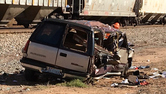 The driver of this SUV was seriously injured when his vehicle and a freight train collided Wednesday morning near Oklaunion