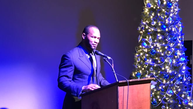 Former Jacksonville Jaguars running back Fred Taylor address over 300 Lee County football players, cheerleaders, coaches and family members at the Rotary All-Star Classic awards banquet Monday at Broadway Palm Dinner Theatre.