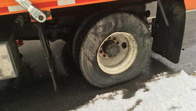 The Vermont Agency of Transportation shared this photo of damage to a plow truck during a police chase Thursday.