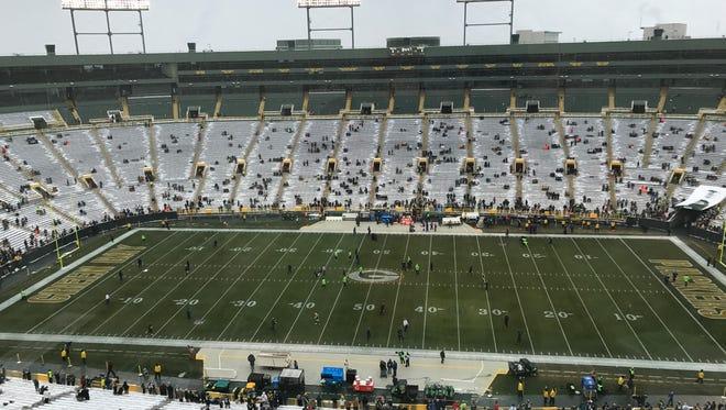 Lambeau Field before the Packers-Seahawks game.