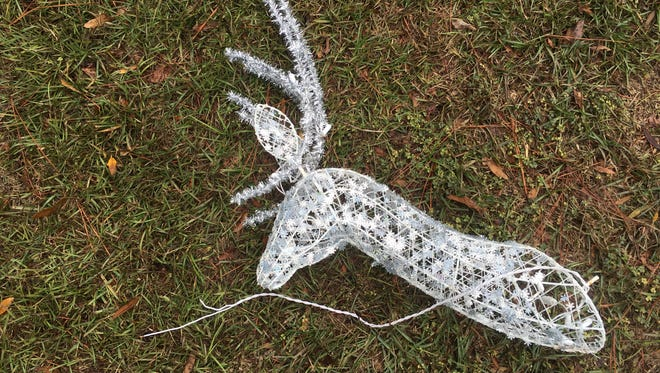 One of two reindeers damaged by vandals at the entrance to the Greens of Killearn subdivision.