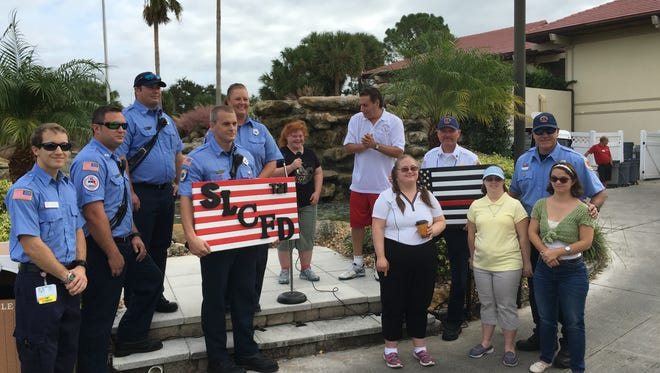 National anthem and presentation to the St. Lucie County Fire Department for their involvement.