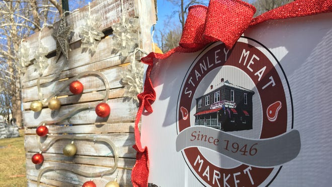 Stanley Meat Market's display at Gypsy Hill Park in Staunton, where a light-up pig was stolen.