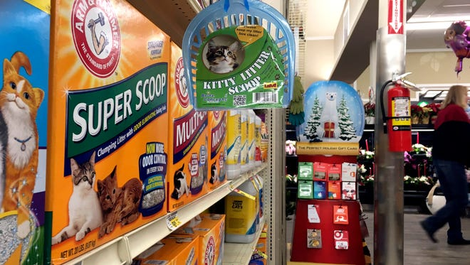 In this Dec. 16, 2016, photo, kitty litter products are displayed at a local store in Cheyenne, Wyo. The market for a peculiar type of clay mined in Wyoming is looking up, thanks to a better outlook for oil and gas drilling and to kitty litter.