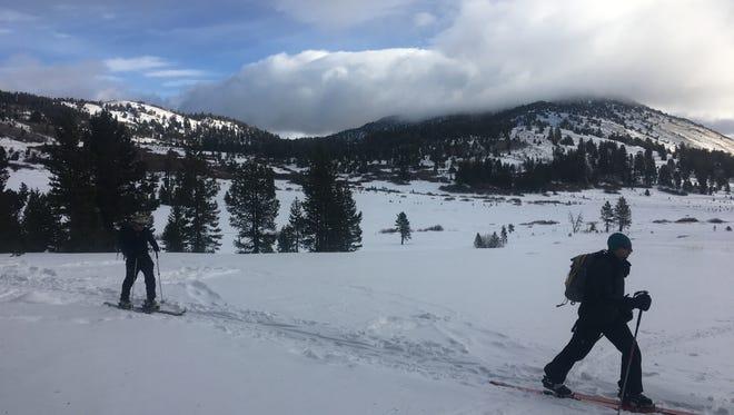 A backcountry skier crossing Tahoe Meadows en route to Chickadee Ridge in late 2016.