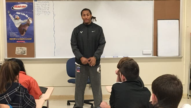 Roberto Rivera, a 2014 graduate of Millville High School where he was a three-sport athlete, visited Millville Memorial High School on Dec. 22 to speak to freshman and sophomore students about being focused and establishing goals in high school. Rivera is a junior at the University of North Carolina at Pembroke and a member of the university's baseball team.