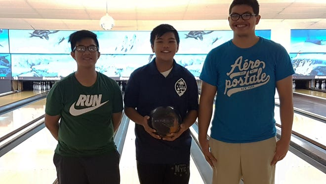 Guam Youth Bowler of the Month top scorers from left Sebastian Loyola, Jeremiah Camacho and James Doyle on Jan. 8, 2017 at the Central Lanes Bowling Center.