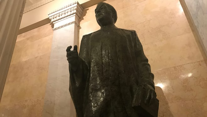 This statue of U.S. Sen. Pat McCarran, D-Nev., sits in the U.S. Capitol. Three Nevada Democrats want the statue replaced because of McCarran's controversial status deemed by some as racist and anti-Semitic.