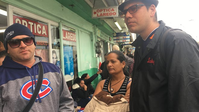 """Manuel Reyes, 37, Idania Laurencio Fernandez, 44, and Joel Gonzalez, 31, all left Cuba at different times but are stuck at the Nuevo Laredo, Mexico, border after President Obama repealed the """"wet foot/dry foot"""" policy that allowed Cubans into the USA."""
