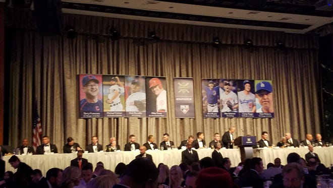 The dais from the BBWAA dinner on Saturday night.