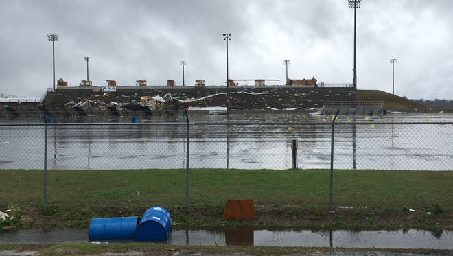 Storm damage is seen at South Georgia Motorsports Park in Cecil, Ga., on Jan. 22, 2017.