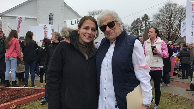 From left, Glen Ridge resident Maya Bleiberg poses with her grandmother, Inge Goldstein of Pompton Plains, during the Pequannock Sister March on Saturday, Jan. 21. The local march was one of numerous occurring across the nation to coincide with the Women's March on Washington.