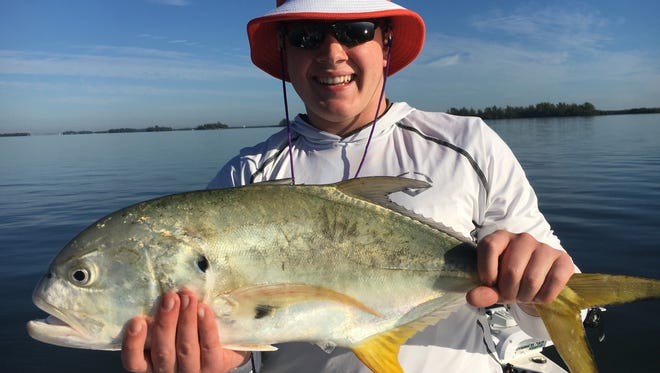 A happy customer who fished with Capt. Charlie Conner of Fish Tales guide service in Fort Pierce last week was glad to catch and release this jack crevalle.