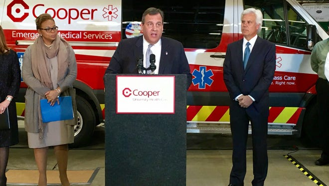 Gov. Chris Christie speaking in Camden on the overhaul of the city's emergency medical services.