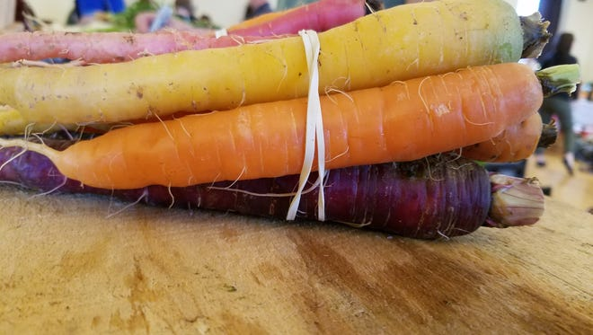 Carrots are available at winter markets in Asheville.