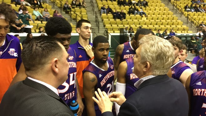 Northwestern State's Mike McConathy talks to his team during Wednesday's game.