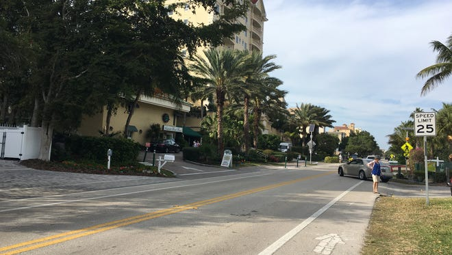 Scene outside Vanderbilt Beach Resort on Thursday, Jan. 26, 2017, where a woman was killed and a valet injured in a crash the night before.