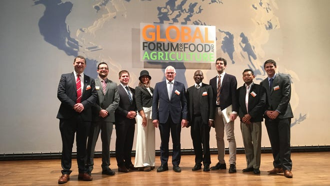 Wisconsin Farmers Union board member Chris Holman (second from left) traveled to The Global Forum on Food and Agriculture in Germany Jan. 19-21, where he was among a delegation of young farmers who participated.
