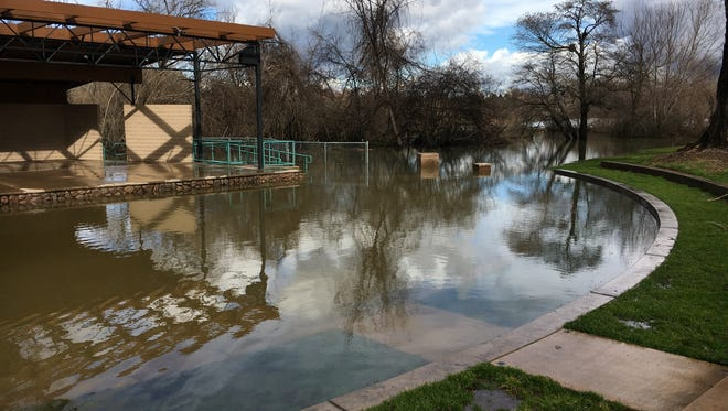 The amphitheater at Anderson River Park was flooded from Monday night's heavy rains.