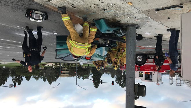 Ventura city firefighters and police officers respond to an accident Sunday morning in Ventura.Photo from  Ventura City Fire Battalion Chief Doug Miser.