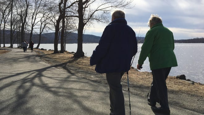 Manfred and Lydia Maier, of Blauvelt, walking at Rockland Lake State Part in Congers.