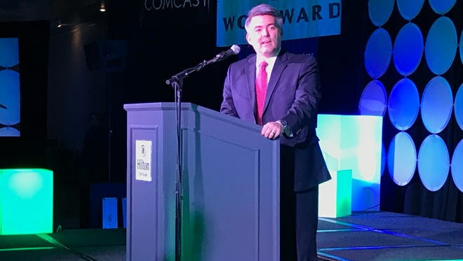 U.S Sen. Cory Gardner speaks at the Fort Collins Area Chamber of Commerce's annual dinner Wednesday, Feb. 22 at the Hilton Fort Collins.