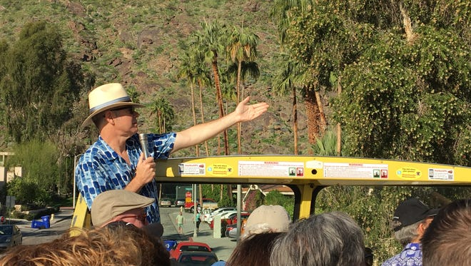 Charles Phoenix leads a bus tour during Palm Springs Modernism Week. (Feb. 2017)