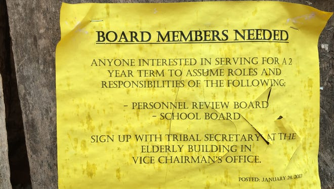 A flier outside Havasupai Elementary School announces a spot on the tribe's school board. Because Havasupai School is run by the Bureau of Indian Education, the board has no real influence.