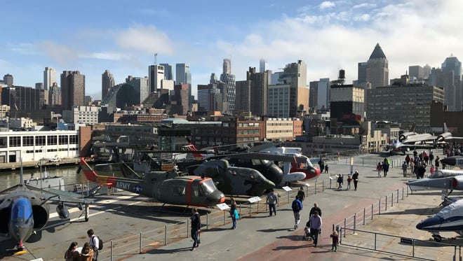 Attendees at the annual Kids Week at the Intrepid Sea, Air, and Space Museum on Saturday were welcomed with unseasonably warm weather. Fighters jets were lined up on full display on the ship's flight deck.