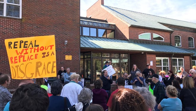 Passaic County Democratic Committeeman Rich McFarland makes the case to anti-Trump protesters in front of the Toms River Town Hall that the progressive wing of the Democratic Party needs to take control of the state party in order to start winning again.