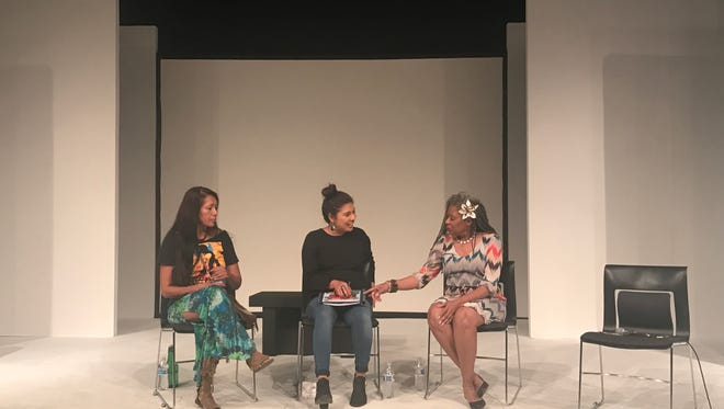 Julie Cassadora (left,) Viridiana Hernandez (middle,) and Clottee Hammons (right) discuss healing in the community, both in general and personally on Saturday, Feb. 25, 2017.
