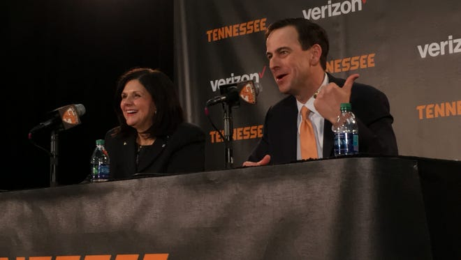 Tennessee chancellor Beverly Davenport, left, and new Tennessee athletic director John Currie take questions from the media on Thursday, March 2, 2017, at Thompson-Boling Arena.
