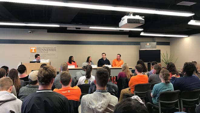 University of Tennessee football director of player personnel Bob Welton and women's tennis coach  Alison Ojeda spoke on a panel Tuesday for UT's Social Media Week.