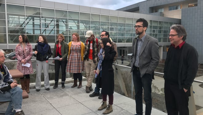 Ithaca College contingent faculty members prepare to hold a press conference on Wednesday at Ithaca College.