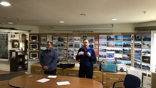 Broadway and movie producer Al Parinello (left) and Steve Steiner (right), Surflight Theatre's former artistic director, hold a news conference at the New Jersey Maritime Museum in Beach Haven on Monday, March 6, 2017.