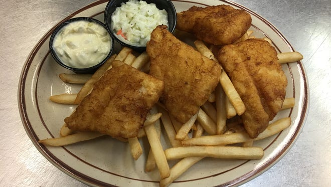 The fish fry, with cod filets, at Hilltop Pub & Grill.