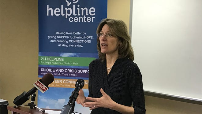 Janet Kittams-Lalley, president of the South Dakota-based Helpline Center, shared the support services available to Sioux Falls residents facing a mental health crisis.