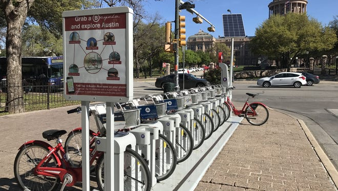 Transportation options in Austin, Texas, include fleets of rental bikes positioned around town.