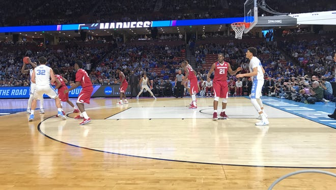 North Carolina Tar Heels face the Arkansas Razorbacks in round two of the NCAA Tournament at Bon Secours WEllness Arena in Greenville, SC. March 19, 2017.