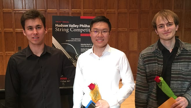 Jonah Ellsworth, Kwan Yeung Brian Choi and Igor Khukhua, winners in the 45th Annual Hudson Valley Philharmonic String Competition.