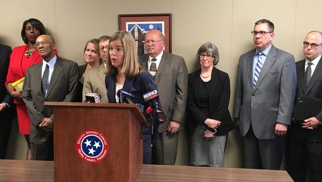 Shelby County district attorney Amy Weirich discusses the dismissal of disciplinary charges against her during a news conference on Monday, March 20, 2017 in Memphis.