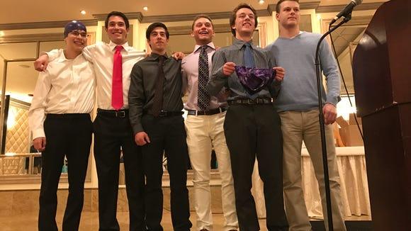 From left, Nate Vele (purple cap), Tommy Damato, Aidan Vella, Kyle Balasny, Connor Olski (with speedo) and Austin Felice.