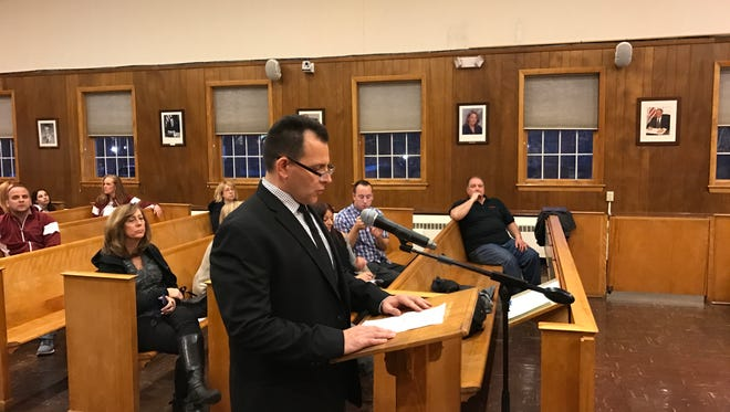 Det.Sgt. Michael Padilla lauds the Law Enforcement Against Drugs program on March 21, 2017, at the Nutley Board of Commissioners meeting.