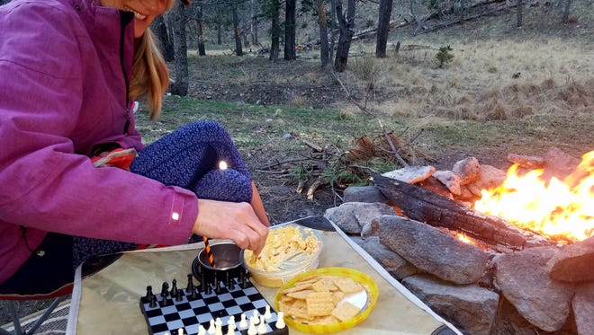Tuesday evening in Telephone Canyon, with our backpackable chess set, we sipped a different beverage by the campfire and played chess.