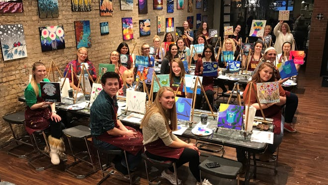 Students, faculty, and alumni of Fox Valley Technical College's Early Childhood Education (ECE) program joined forces with child development students from Appleton East, Appleton North, and Kimberly High Schools and their teachers for an evening of creative collaboration at Pinot's Palette.