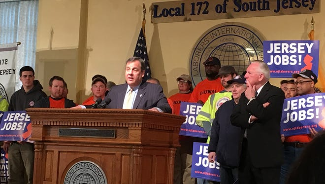 Gov. Chris Christie on Monday after signing a bill authorizing $400 million in transportation spending.
